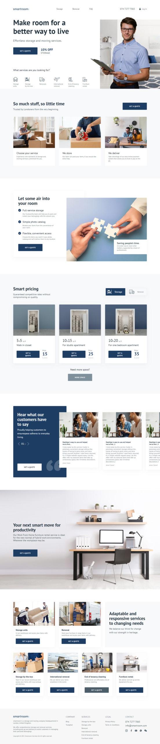 Сайт сервиса переезда и хранения.